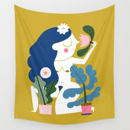 Blue Plant Lady Wall Tapestry