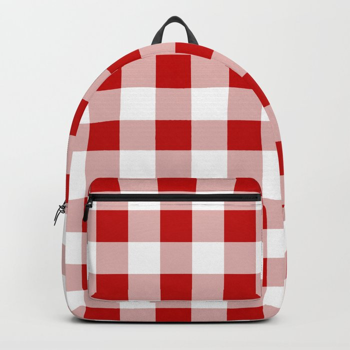 Red and White Check Backpack