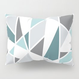 Geometric Pattern in teal and gray Pillow Sham