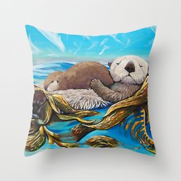 Sea Otter Mom & Pup Throw Pillow