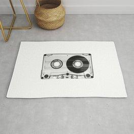 1980's Retro Black-White Vintage 80's Cassette Eighties Technology Art Print Home Decor Wall Decor Rug