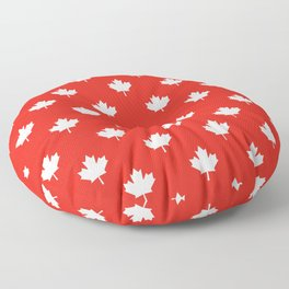 Large Reversed White Canadian Maple Leaf on Red Floor Pillow