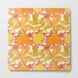 Autumn Leaf Pattern 01 Metal Print