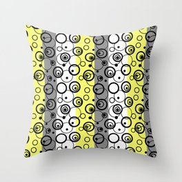 Circles and rings on striped background 2 Throw Pillow