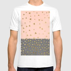Modern blush pink watercolor grey cement concrete triangles polka dots gold Mens Fitted Tee MEDIUM White