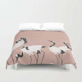 Crane Dance - Mauve Pink Duvet Cover