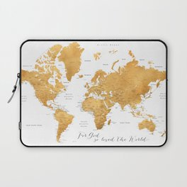 For God so loved the world, world map in gold Laptop Sleeve