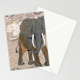 African Elephant Vintage Map Stationery Cards