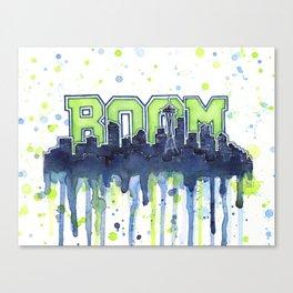 Seattle Boom Watercolor Canvas Print