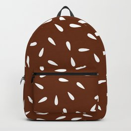 White Water Drops on Brown Cinnamon Background Backpack