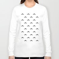 mustache Long Sleeve T-shirts featuring mustache by Panic Junkie