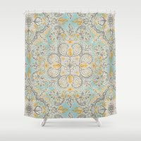 bedding Shower Curtains featuring Gypsy Floral in Soft Neutrals, Grey & Yellow on Sage by micklyn