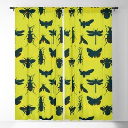 Bugs! dark green insects on vivid green background Blackout Curtain