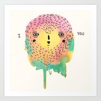 sloth Art Prints featuring sloth by Alba Blázquez