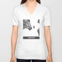 copenhagen V-neck T-shirts featuring Copenhagen by Map Map Maps