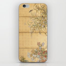Japanese Edo Period Six-Panel Gold Leaf Screen - Spring and Autumn Flowers iPhone Skin