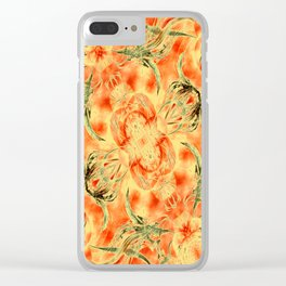 Yellow and Orange Floral Pattern Clear iPhone Case