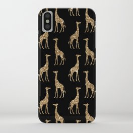 Black Gold Glitter Giraffe Pattern iPhone Case