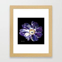 Blue & Gold Flower Framed Art Print