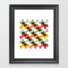 Mint green, orange & red pattern Framed Art Print