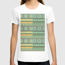 bezold effect traditional medium dimensional symmetrical different similar shapes triangle green yel T-shirt