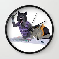 cocaine Wall Clocks featuring cocaine wolves by Dyna Moe