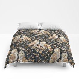Wooden Wonderland Barn Owl Collage Comforters