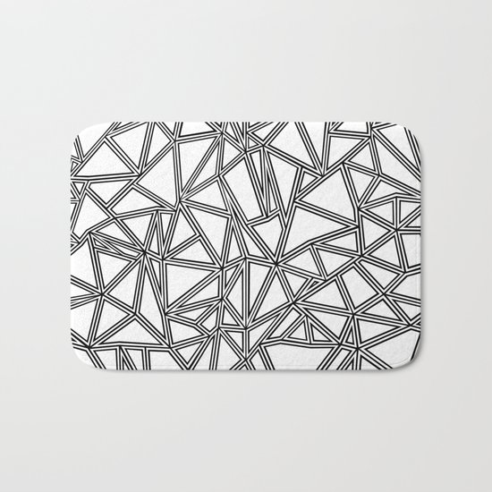 Abstract New Black on White Bath Mat