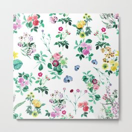 Roses, Moth Orchids, Lilies - Green Pink Blue Metal Print