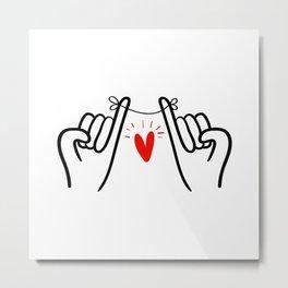 Pinky promise hand print, hand swear printable sign, couple art print, minimal line drawing print Metal Print