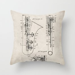 Selmer Saxophone Patent - Saxophone Art - Antique Throw Pillow