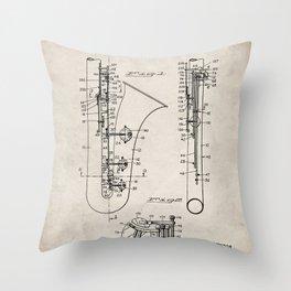 Selmer Saxophone Patent - Saxophone Art - Antique Throw Pillow