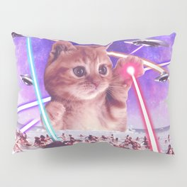 cat invader from space galaxy marsians attacking beach Pillow Sham