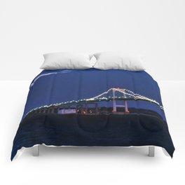 Newport Bridge at twilight- Newport, Rhode Island Comforters