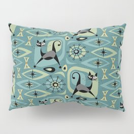 Mid Century Cat Abstract - Blue Pillow Sham