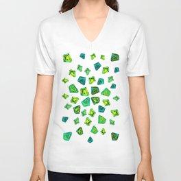 Green beautiful hand drawn gems. Unisex V-Neck