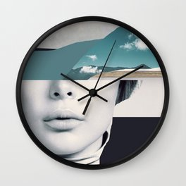 woman portrait /collage 3 Wall Clock