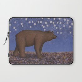 brown bear on a starlit stroll Laptop Sleeve