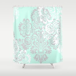 Damask Print in Mint and Gray Shower Curtain