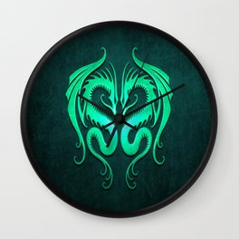 Teal Blue Twin Tribal Dragons Wall Clock