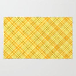 Yellow Diagonal Plaid Pattern Rug