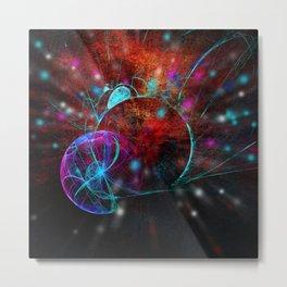 Ammonite emerging from space Metal Print