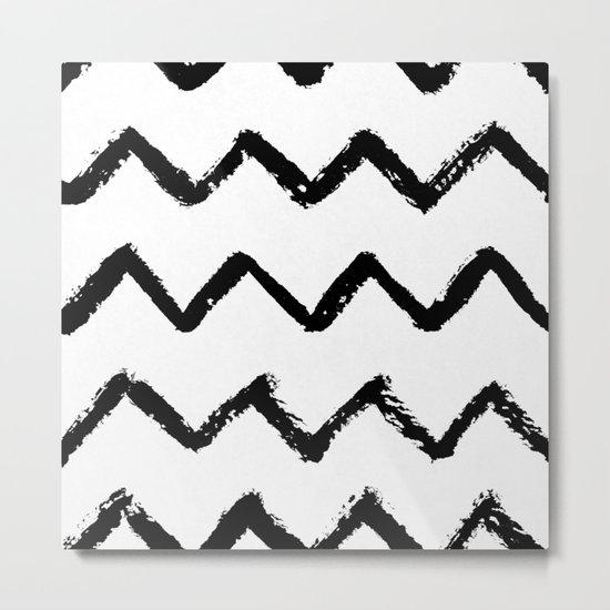 Chevron Stripes Black and White Metal Print