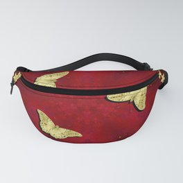 gold butterflies and flowers on red kaleidoscope Fanny Pack