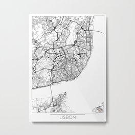 Lisbon Map White Metal Print