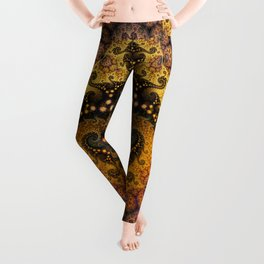 Golden dragon spirals and circles, fractal art Leggings