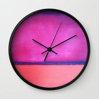 rothko Wall Clocks featuring ROTHKO - PINK, PURPLE, BLUE by things collectable plus