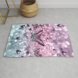 Pastel Unicorn Butterfly Glitter Dream #2 #shiny #decor #art #society6 Rug