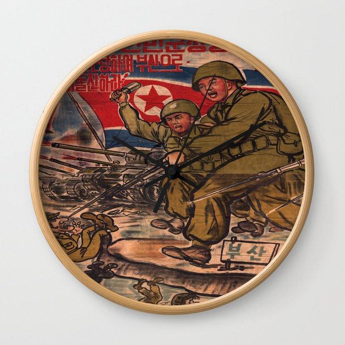 Vintage poster - North Korean propaganda Wall Clock