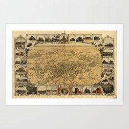 Vintage Bird's Eye Map Illustration - Fresno, California (1901) Art Print